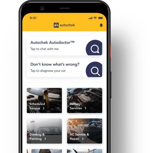 Google pixel 4 mobile phone showing the autochek mobile app's car fix, repair and maintenance section